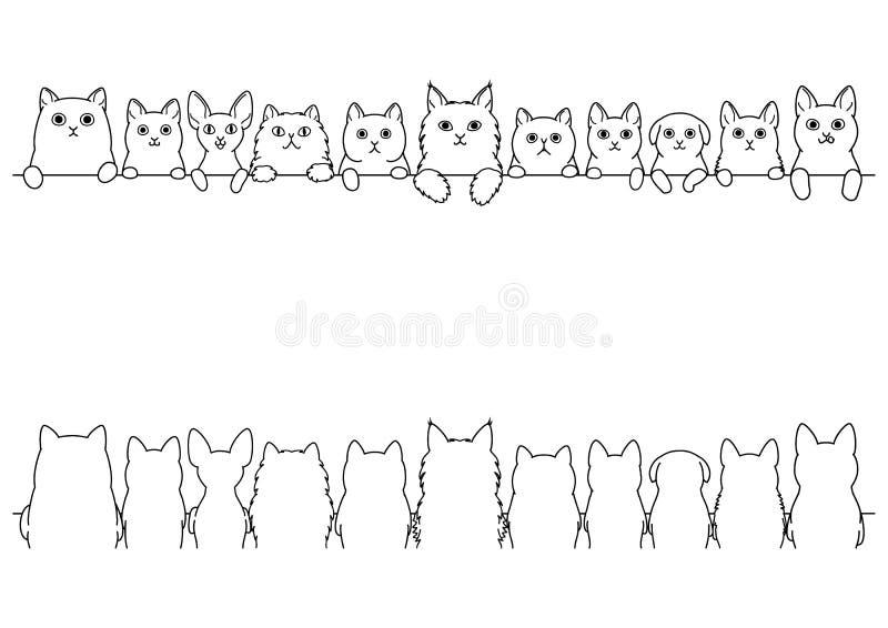 Różnorodny śliczny kot kreskowej sztuki granicy set ilustracji