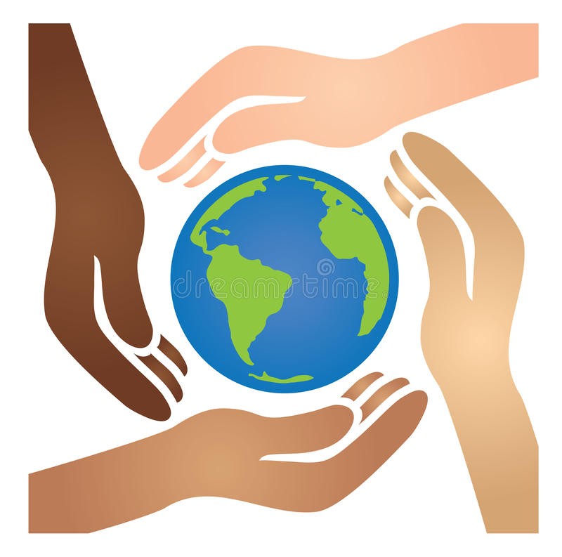 Różnorodny amerykanin afrykańskiego pochodzenia, biel, ręki, latynosa Łączy Wpólnie kołyska świat, azjata, i błękita i zieleni ilustracja wektor