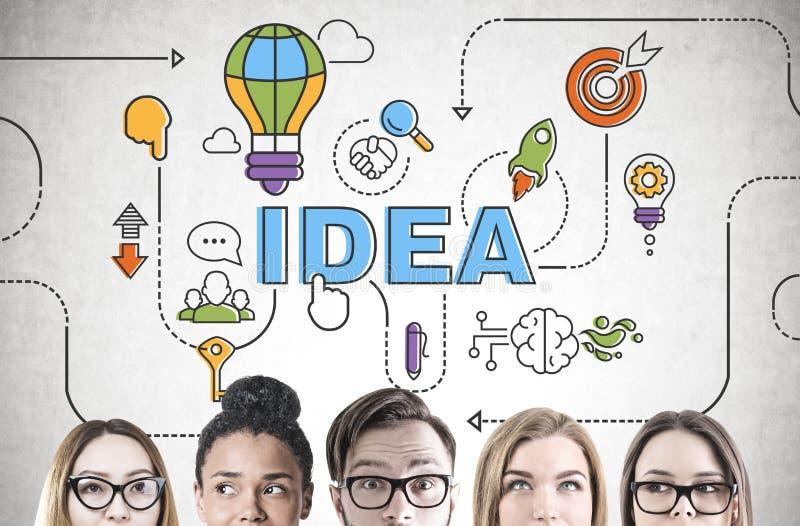 Różnorodny biznes drużyny brainstorming, głowa, pomysł zdjęcia stock