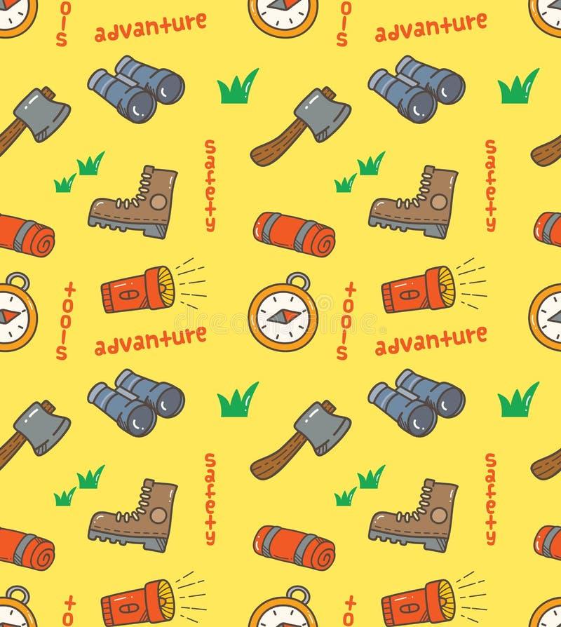 Różnorodny camping wytłacza wzory bezszwowego wzór royalty ilustracja