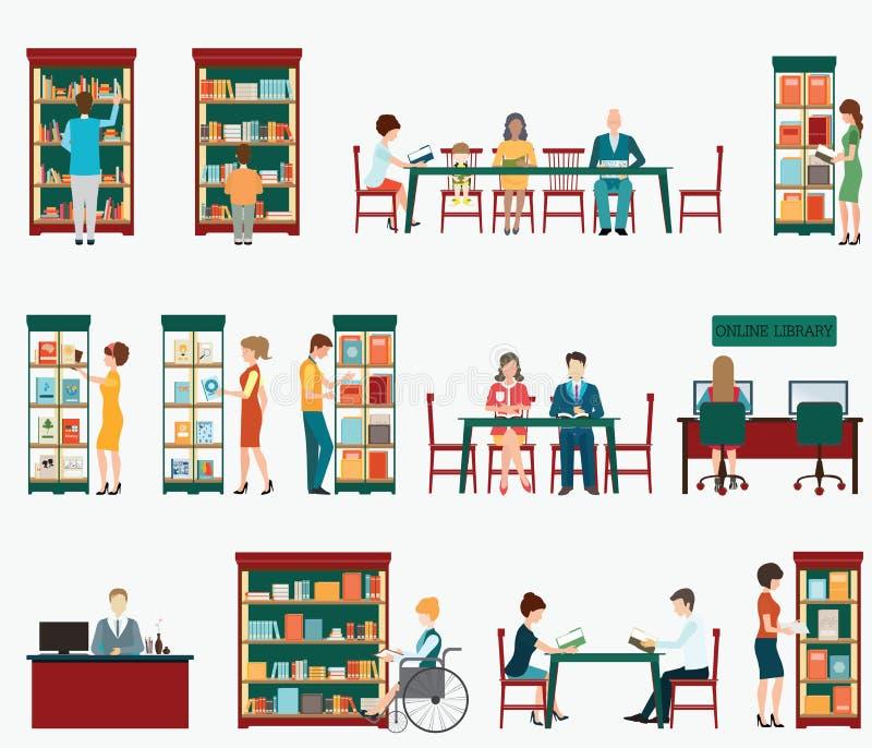Różnorodny charakter ludzie w Bookstore lub bibliotece royalty ilustracja