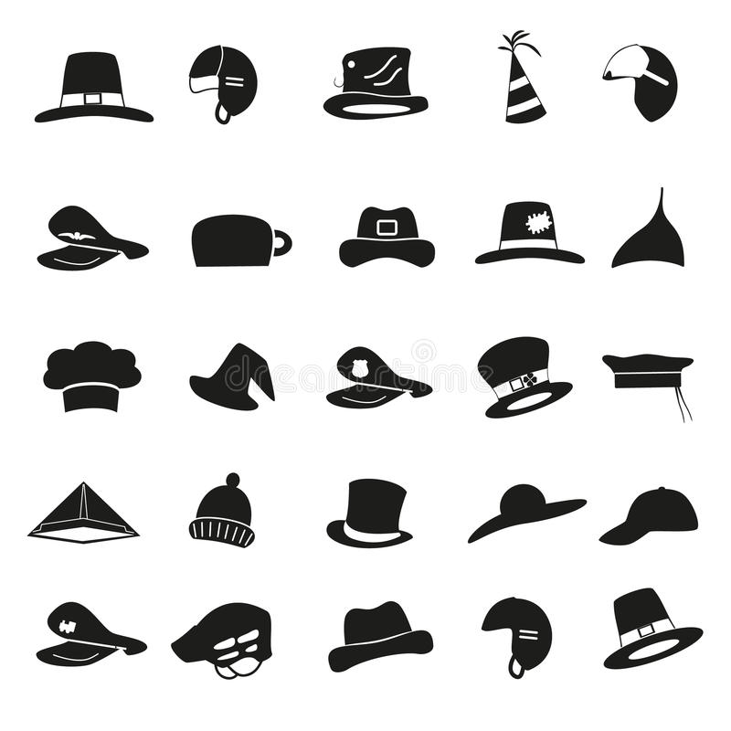Różnorodny czarny kapelusz ikon wektoru set ilustracji