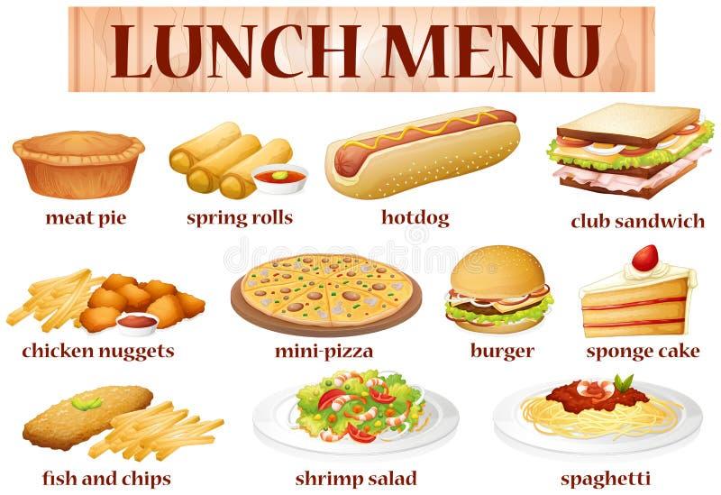 Różnorodny jedzenie dla lunchu jakby royalty ilustracja