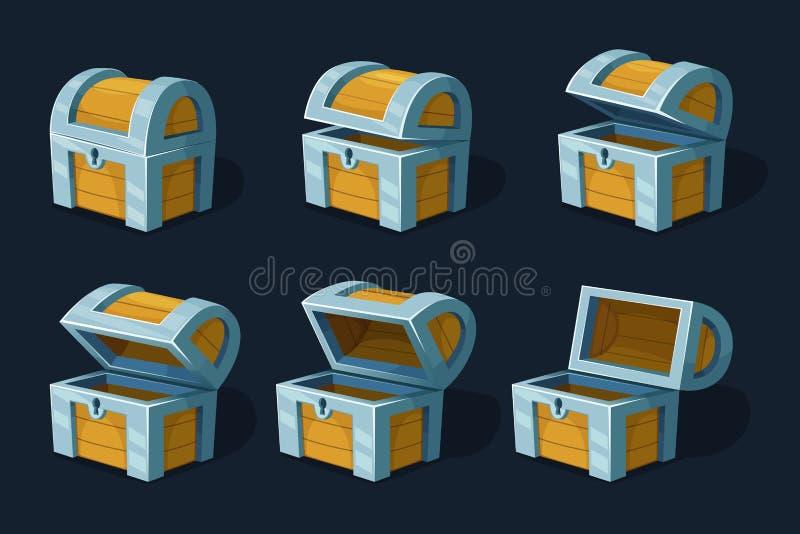 Różnorodny klucz obramia animację drewniana klatka piersiowa lub pudełko Wektorowi kreskówka obrazki royalty ilustracja