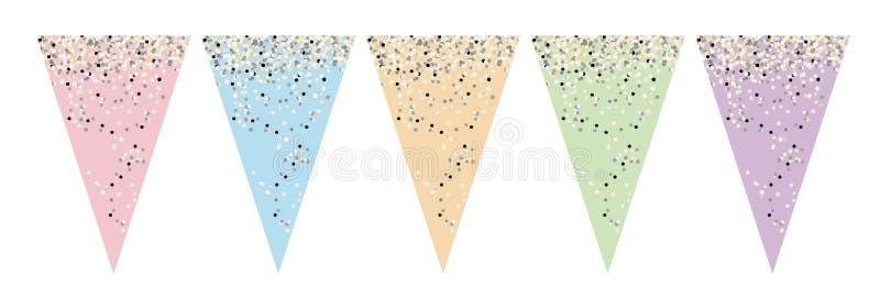 Różnorodny kolor flaga sztandaru set Robi Mię Yourself przyjęcie dekoracja royalty ilustracja