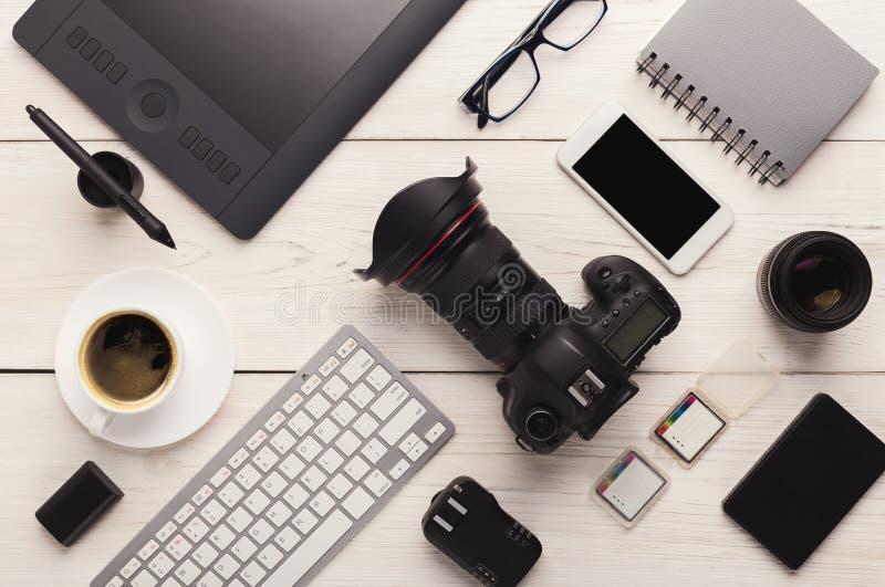 Różnorodny osobisty wyposażenie dla fotografa obrazy royalty free