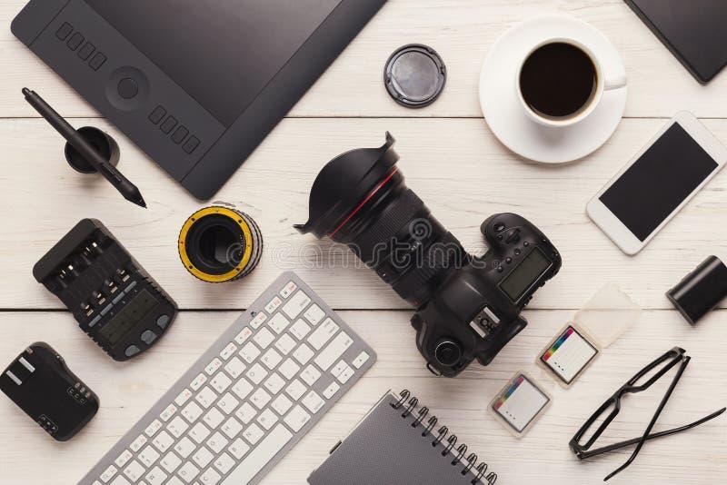 Różnorodny osobisty wyposażenie dla fotografa zdjęcia royalty free