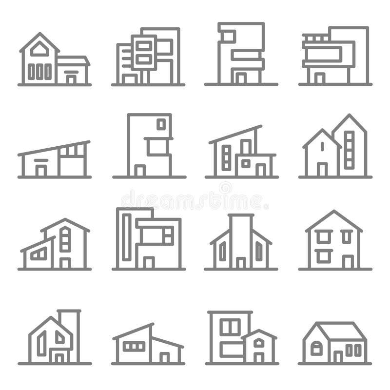 Różnorodny Real Estate budynków wektoru linii ikony Majątkowy Nowożytny Stylowy set royalty ilustracja