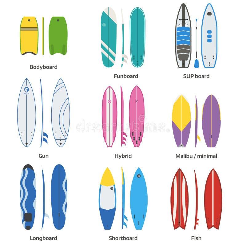 Różnorodny Surfboards wektoru set royalty ilustracja
