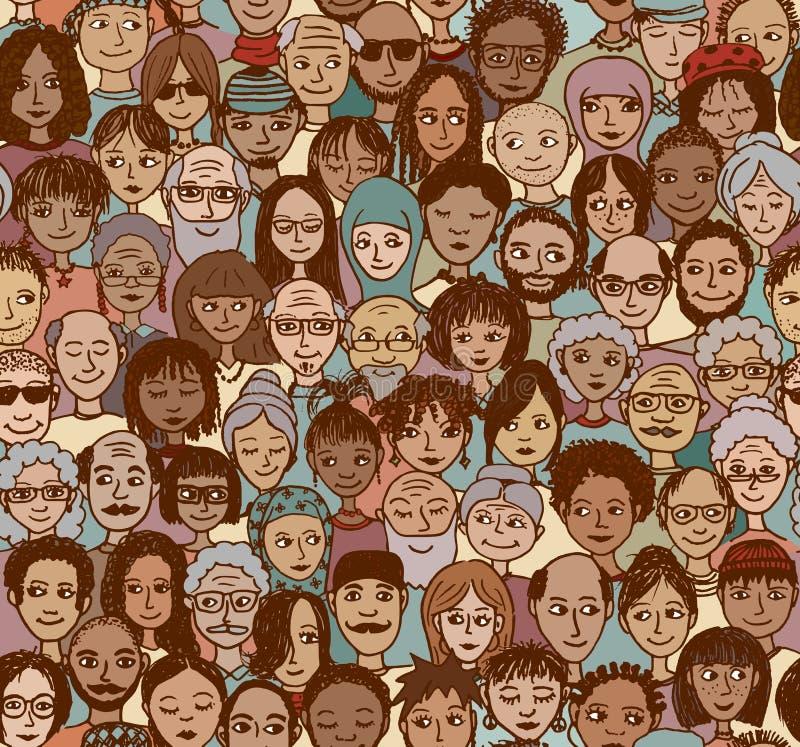 Różnorodny tłum ludzie royalty ilustracja