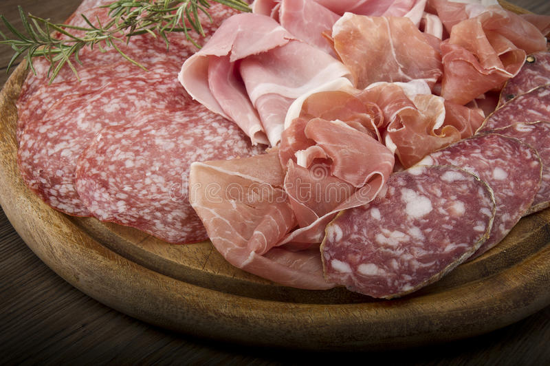 Różnorodny Włoski salami fotografia stock