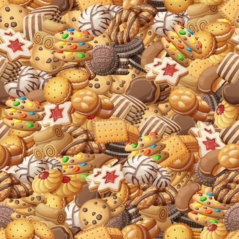 Różnorodnych ciastek bezszwowy wzór Słodka kreskówka wektoru ilustracja ilustracji