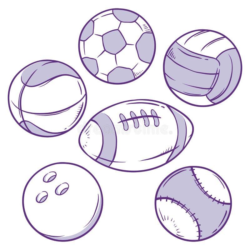 Różnorodnych sportów Balowy Doodle ilustracja wektor
