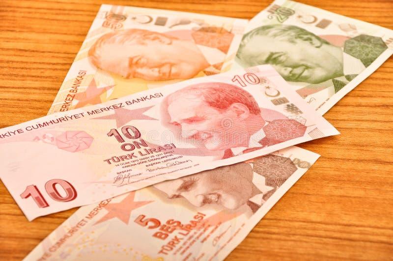Różnorodnych Tureckiego lira banknotów frontowy widok zdjęcie stock