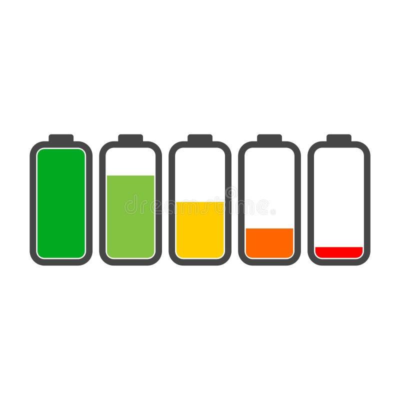 Różny ładuje status baterii ładunku znak, ikona, logo ilustracji