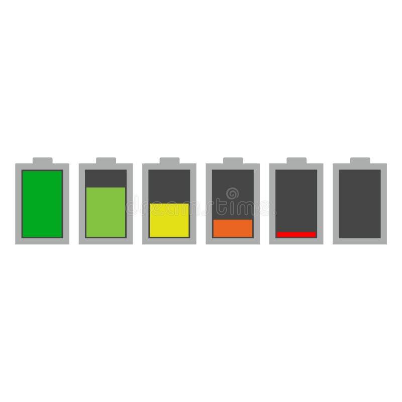 Różny ładuje status baterii ładunku znak, ikona, logo ilustracja wektor