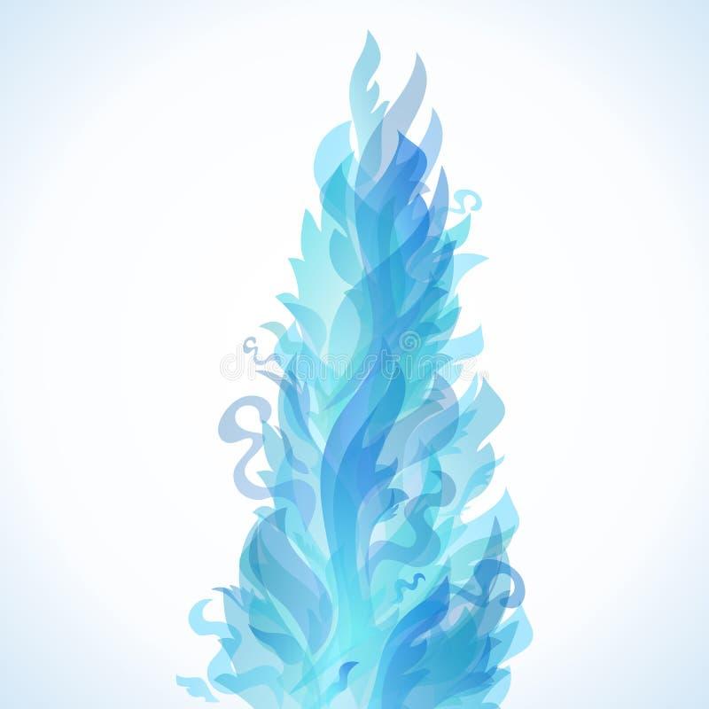 Różny błękita ogień płonie na białym tle. ilustracji