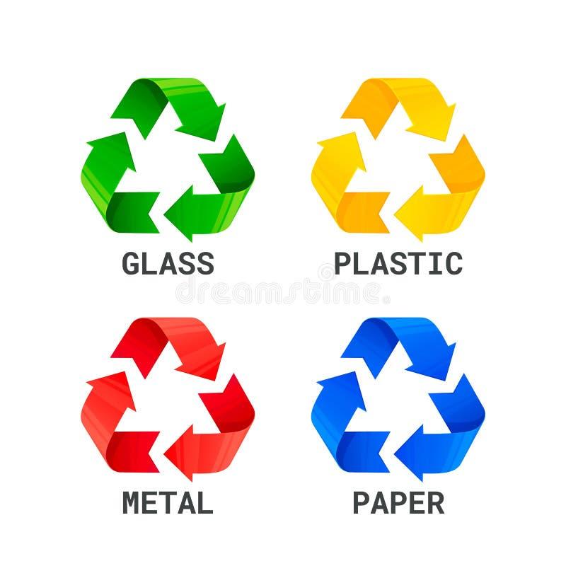 Różny barwiony przetwarza jałowych znaki Odpady pisać na maszynie segregaci przetwarzać metalu klingeryt, papier, szkło odpady od royalty ilustracja