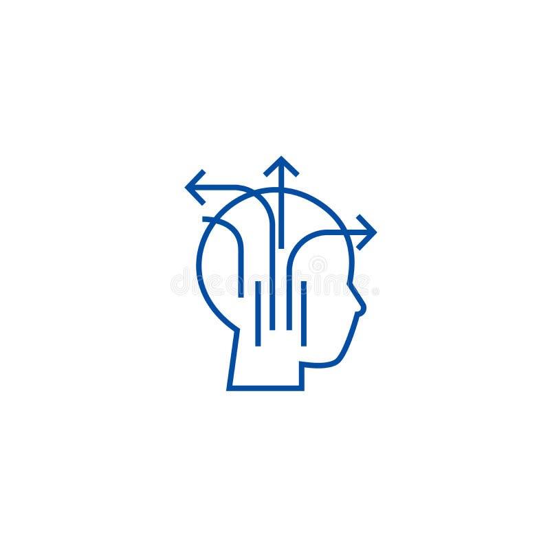 Różny biznesowy główkowanie linii ikony pojęcie Różny biznesowy myślący płaski wektorowy symbol, znak, kontur ilustracji
