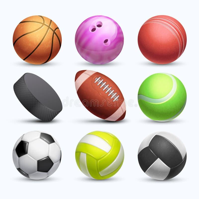Różny 3d bawi się piłki wektorową kolekcję na białym tle ilustracji