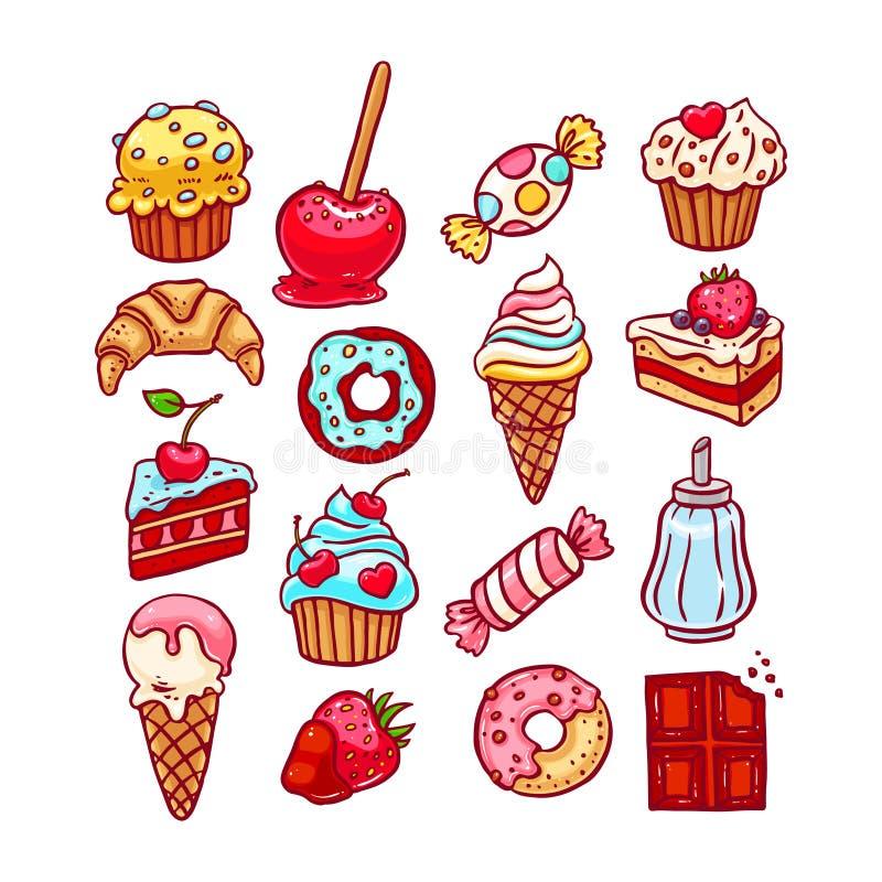 różny deseru set ilustracji