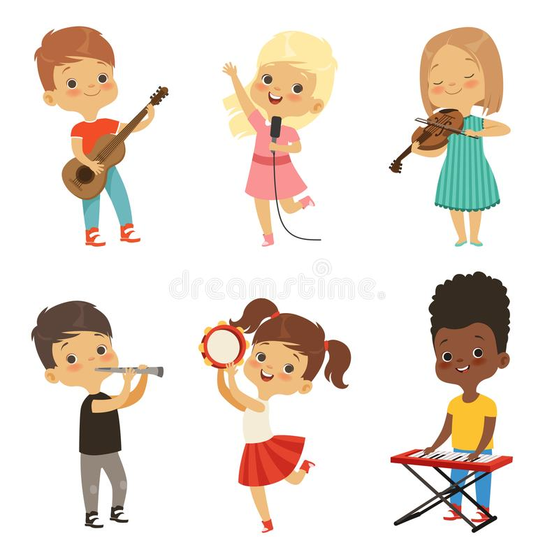 Różny dzieciaków śpiewać Muzycy odizolowywają na bielu royalty ilustracja