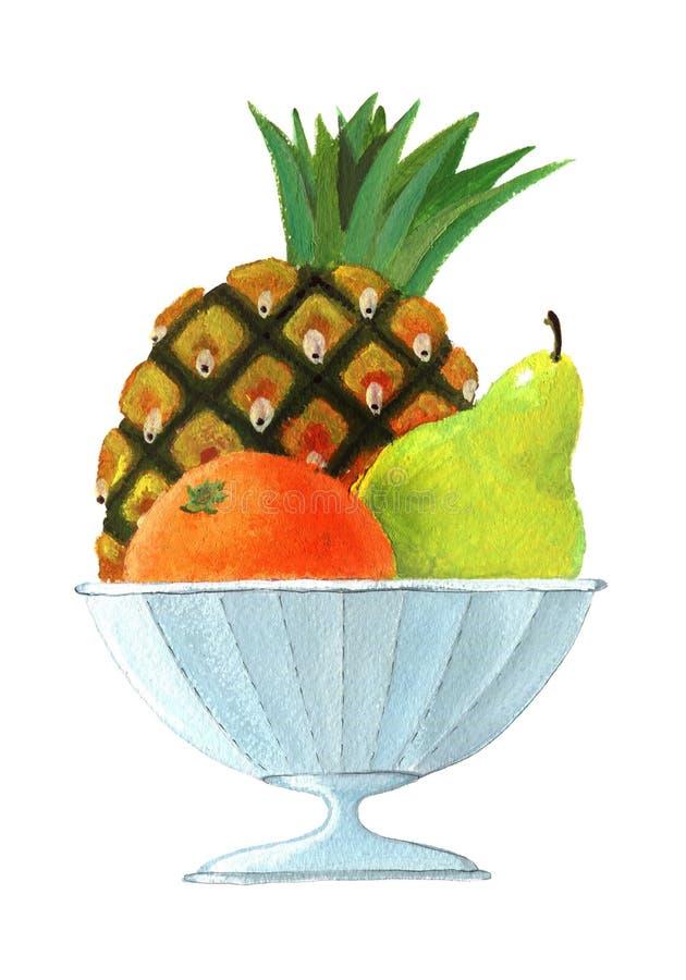 Różny jedzenie na białym tle - bonkreta, pomarańcze, ananas w metal wazie, odizolowywającej na białym tle royalty ilustracja