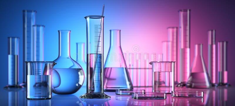 Różny laborancki glassware z cieczami ilustracja wektor