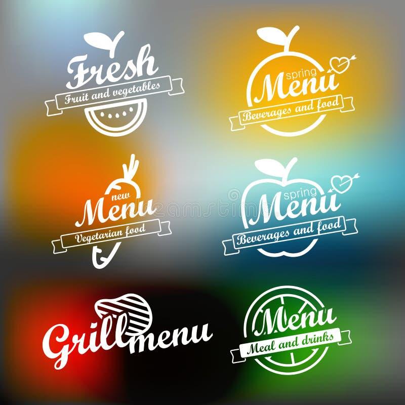 Różny menu etykietek projekta set ilustracji