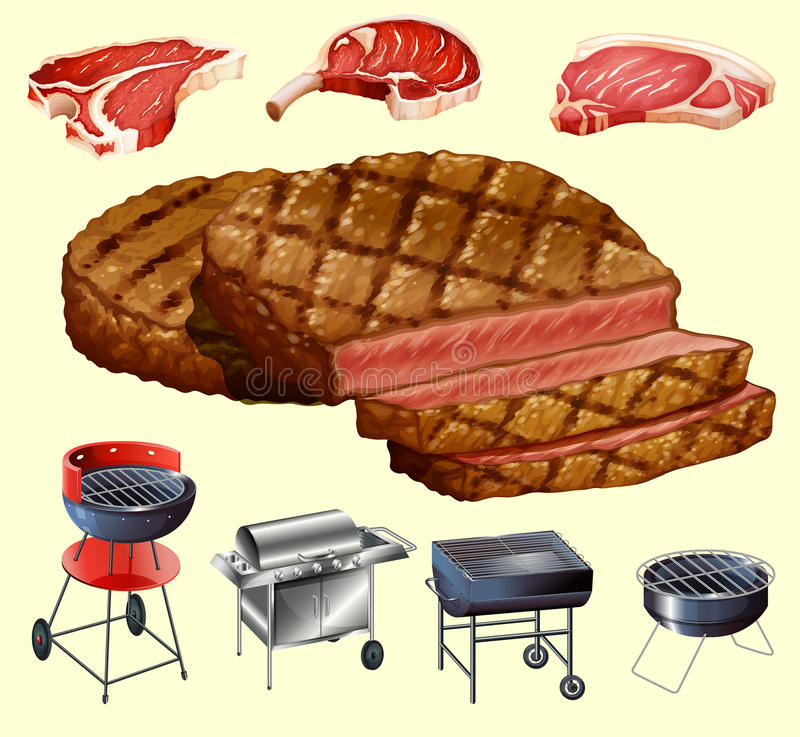 Różny mięsa i grilla wyposażenie jakby ilustracja wektor