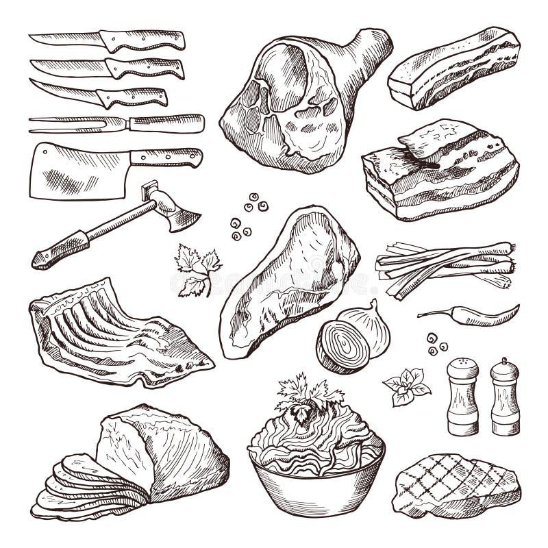 Różny mięsny jedzenie Wieprzowiny, bekonu i kuchni akcesoria, Noża i cioski wektorowa ręka rysujący obrazek ilustracji