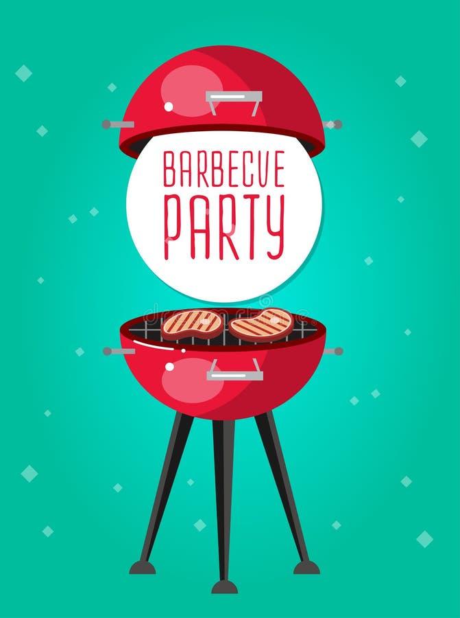 Różny mięso na grill ilustraci jakby ilustracja wektor
