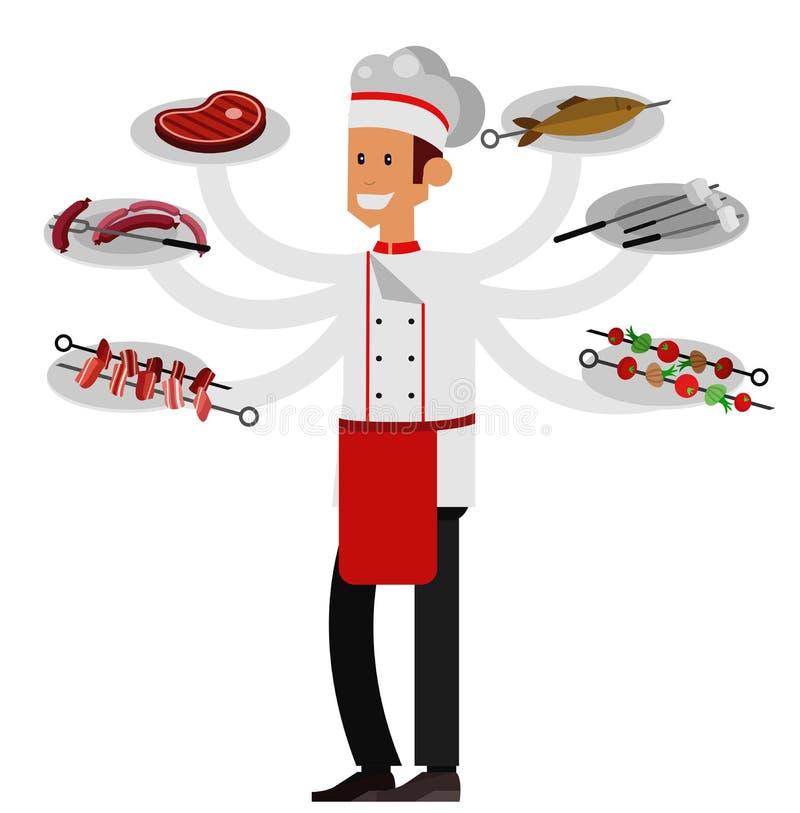 Różny mięso na grill ilustraci jakby royalty ilustracja