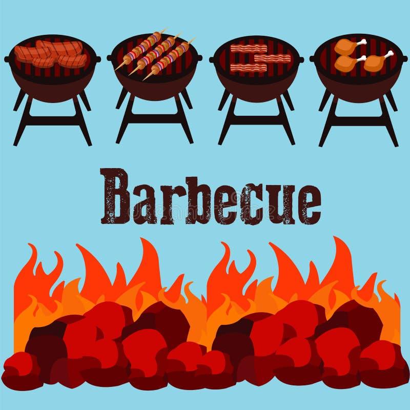 Różny mięso na grill ilustraci jakby ilustracji