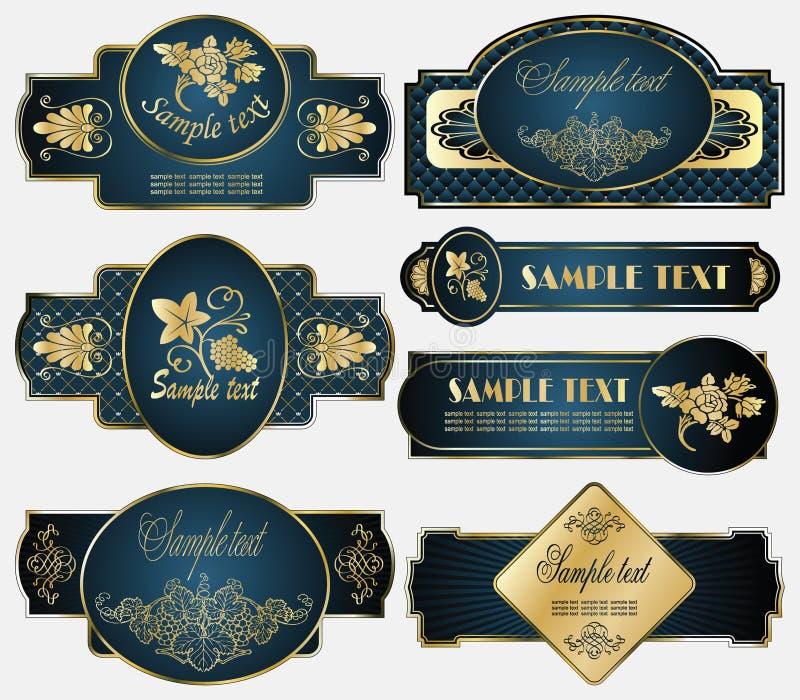 różny obramiający złoto przylepiać etykietkę tematy ilustracji