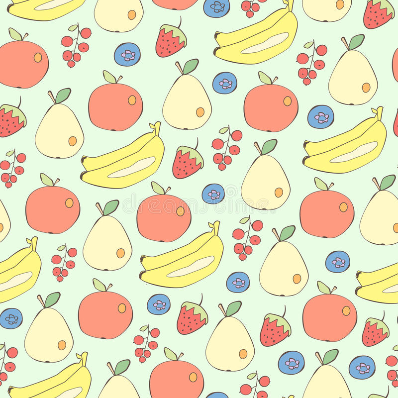 Różny owoc i jagod bezszwowy wektorowy tło ilustracja wektor