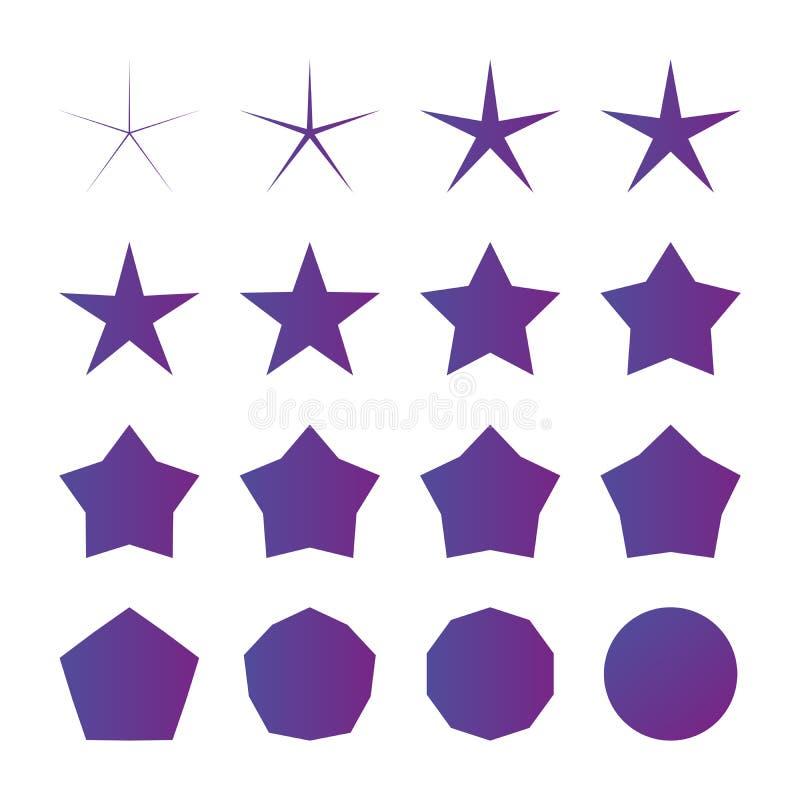 różny promieniomierz pięć punktów gwiazdy set, wektorowa ilustracja odizolowywająca na białym tle ilustracja wektor