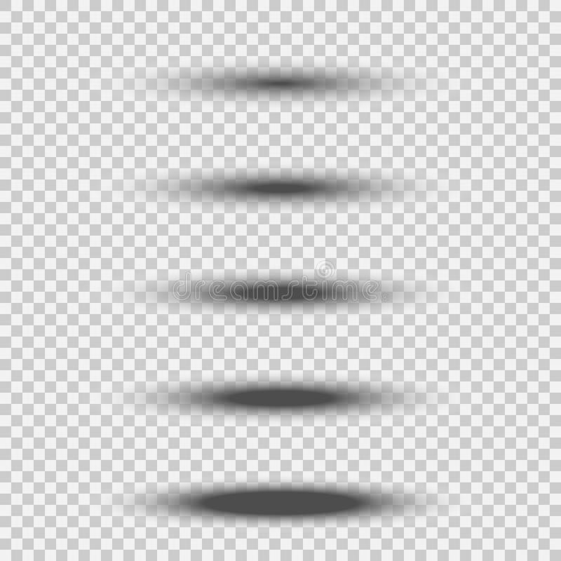 Różny przejrzysty czarny owalny cienia set z miękką krawędzią odizolowywającą na białym tle Wektorowy divider element ilustracja wektor
