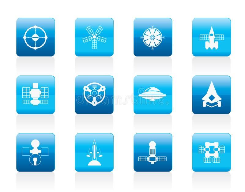 różny przyszłościowy ikon rodzajów statek kosmiczny ilustracji