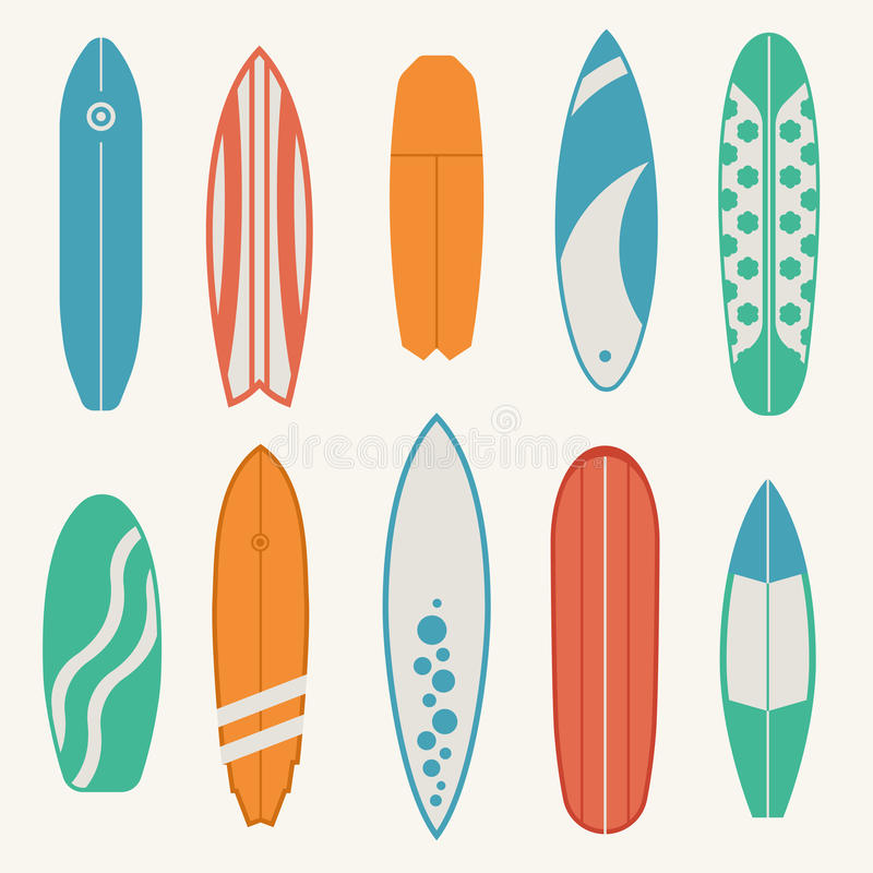 Różny surfboard set ilustracji