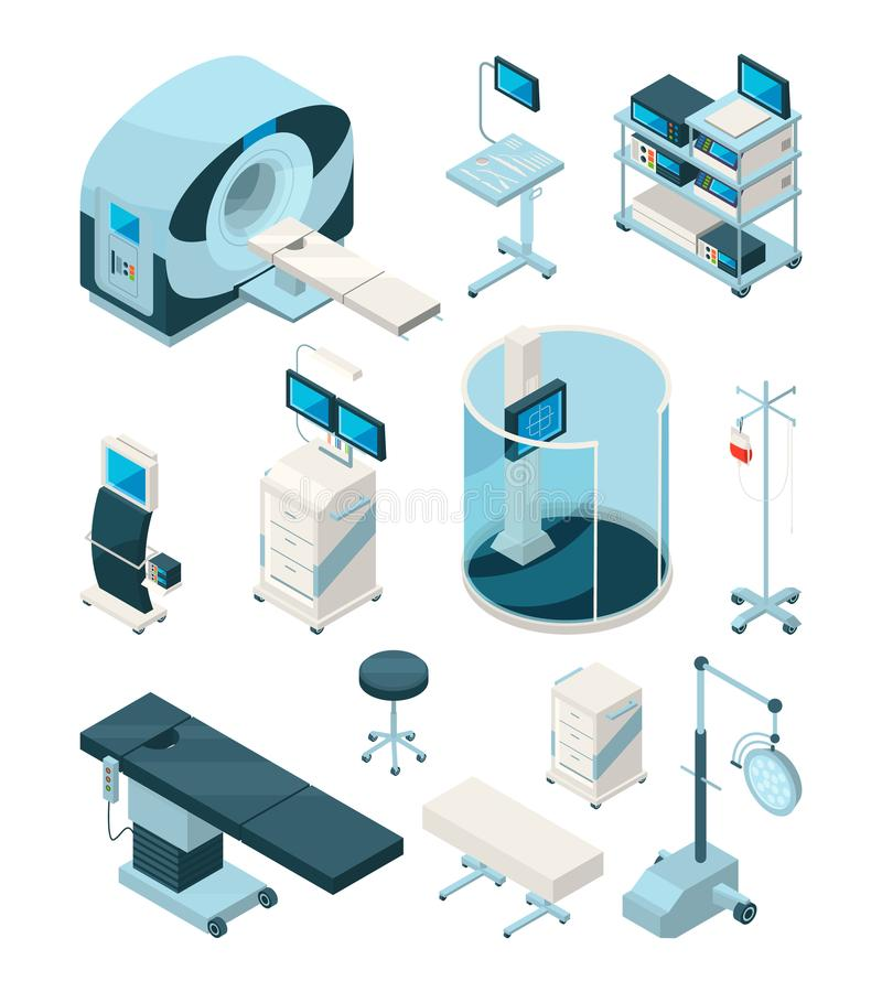 Różny szpitalny wyposażenie Medyczni stoły i inni przyrząda ilustracji