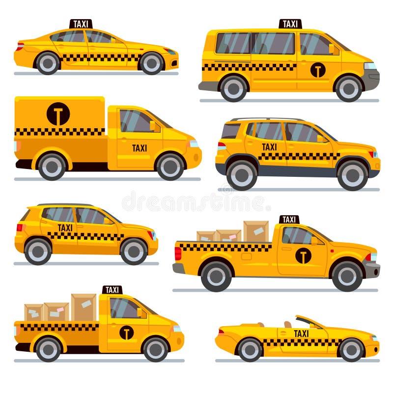Różny taxi pisać na maszynie płaską wektorową kolekcję ilustracji