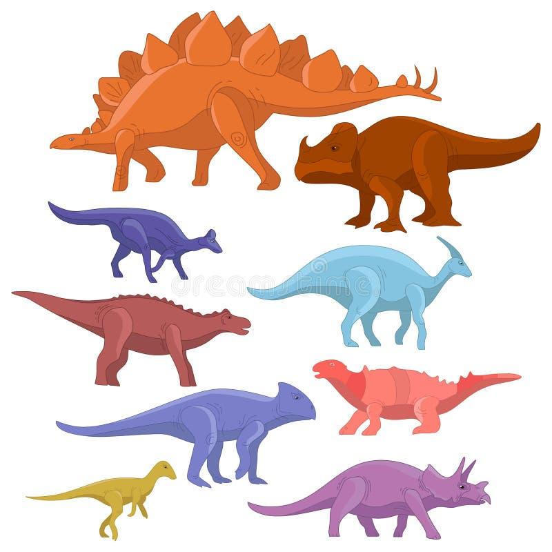 Różny typ kreskówka dinosaurów potwora śliczny set Dinosaur kreskówki charakteru inkasowy prehistoryczny tyrannosaurus royalty ilustracja