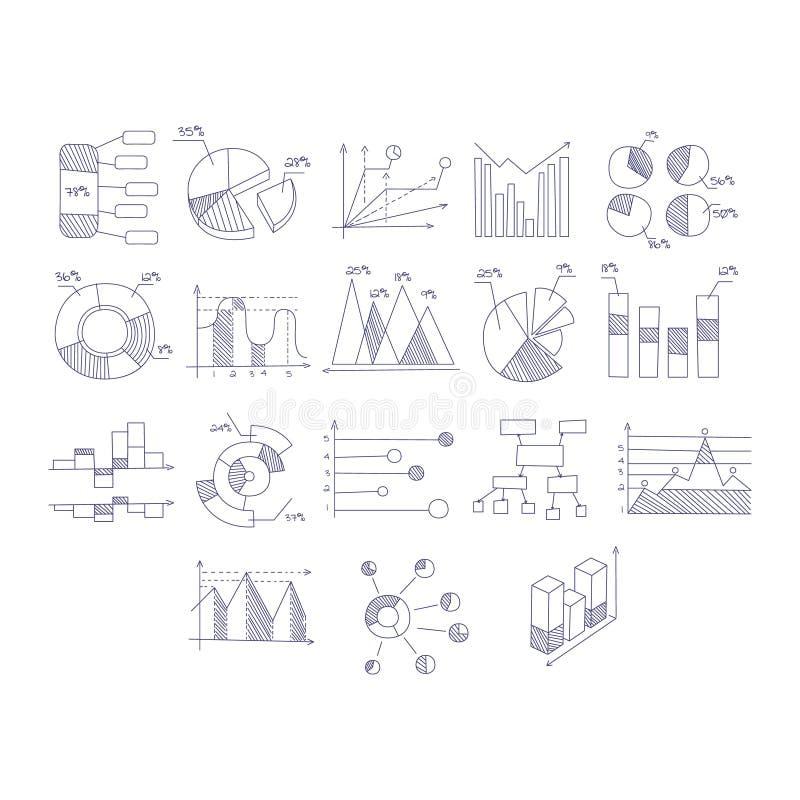 Różny typ ręki Rysować mapy Ustawiać ilustracja wektor