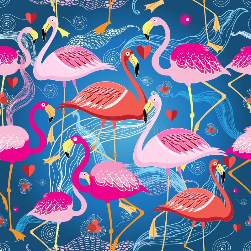 Różny wzór flamingi ilustracji