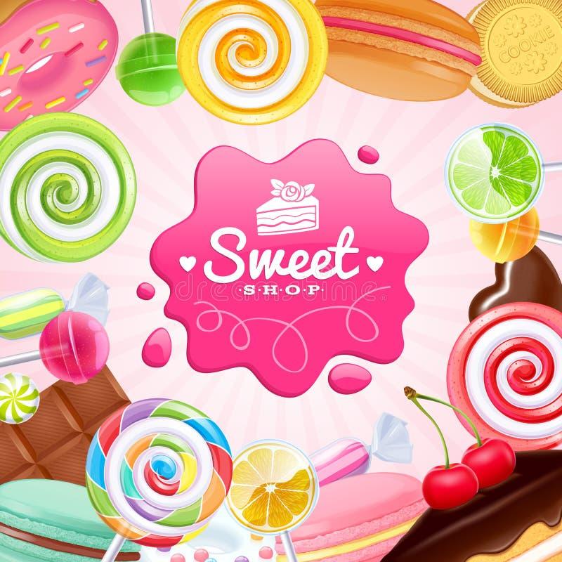 Różnych cukierków kolorowy tło royalty ilustracja