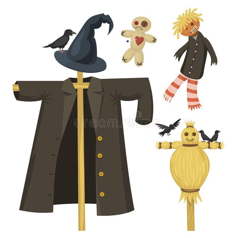Różnych lal charakteru gry sukni i gospodarstwa rolnego strach na wróble lali wektoru zabawkarska ilustracja ilustracja wektor