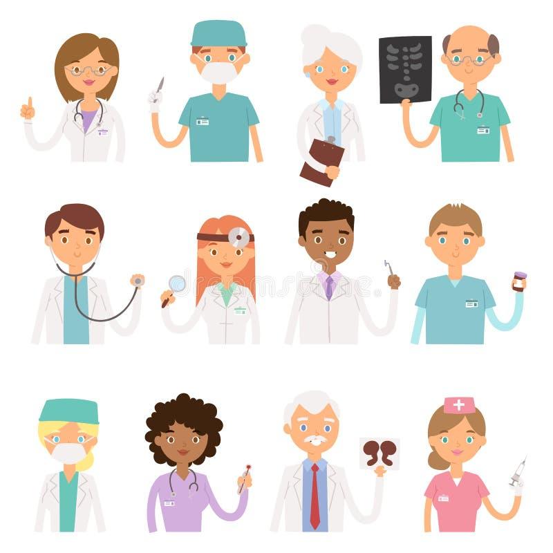 Różnych lekarka zawodu charactsers wektorowi medyczni ludzie ustawiający royalty ilustracja