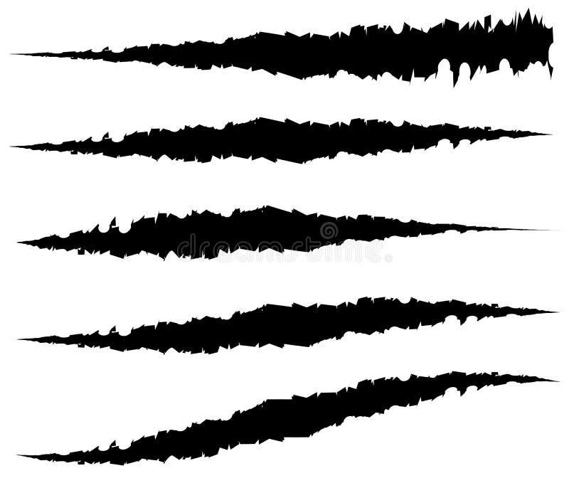 5 różnych pazurów narysów, pazur oceny Zirytowany rozprucie, rana kształty ilustracja wektor