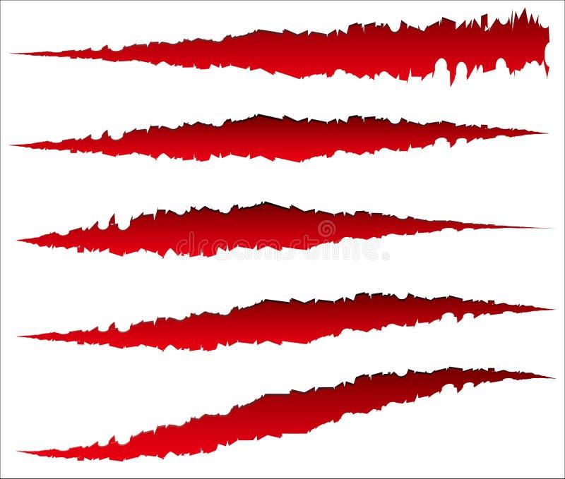 5 różnych pazurów narysów, pazur oceny Zirytowany rozprucie, rana kształty ilustracji